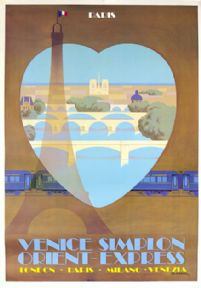 Venice Simplon Orient Express, Paris. VSOE Vintage Travel Poster by Pierre Fix-Masseau. 1979